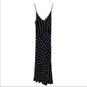 [Calvin Klein] Striped Spaghetti Strap Maxi Dress